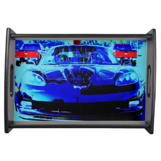 Front end and hood of a Black & Blue Corvette Z06 Serving Tray