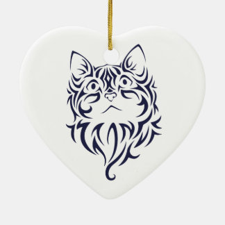 Front Facing Cat Kitten Face Stencil Ceramic Ornament