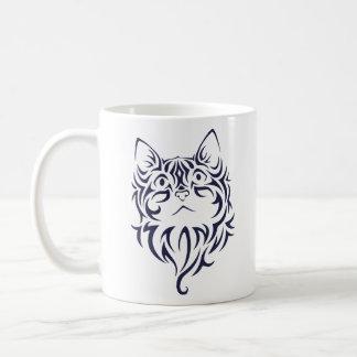 Front Facing Cat Kitten Face Stencil Coffee Mug