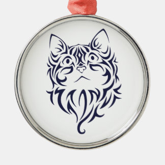 Front Facing Cat Kitten Face Stencil Metal Ornament