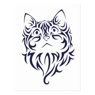 Front Facing Cat Kitten Face Stencil Postcard