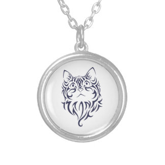 Front Facing Cat Kitten Face Stencil Silver Plated Necklace