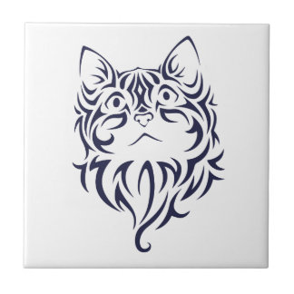 Front Facing Cat Kitten Face Stencil Tile
