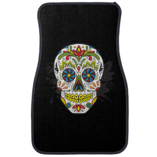 Front Floor Mats With Sugar Skull Tattoo Skull