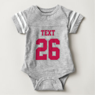 Front GRAY WHITE CRIMSON Crewneck Football Outfit Baby Bodysuit