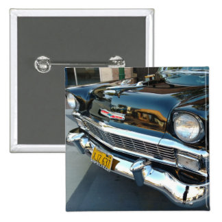 Front of a Classic 1956 Chevy Bel Air Hot Rod 2 Inch Square Button