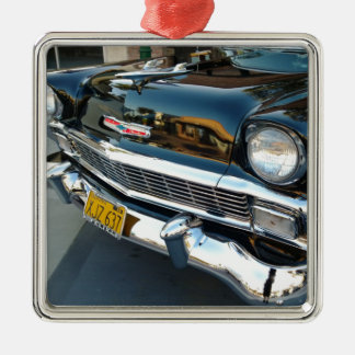 Front of a Classic 1956 Chevy Bel Air Hot Rod Silver-Colored Square Ornament