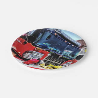 Front of Fire Truck With Hose 7 Inch Paper Plate