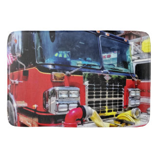 Front of Fire Truck With Hose Bath Mat
