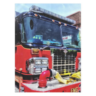 Front of Fire Truck With Hose Tablecloth
