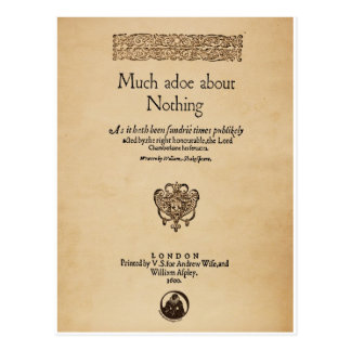 Front Piece to Much Ado About Nothing Quarto Postcard