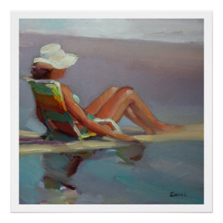 Front Row Sea - Woman at the Beach Poster