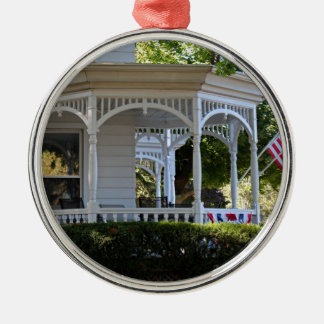 Front Street Porch Silver-Colored Round Ornament