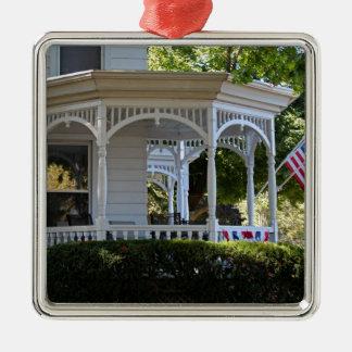 Front Street Porch Silver-Colored Square Ornament