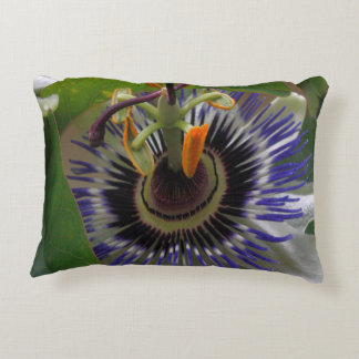 Front View of Beautiful Passiflora Flower Accent Pillow