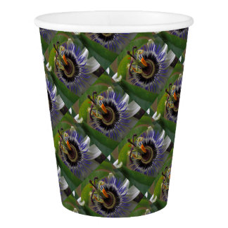 Front View of Beautiful Passiflora Flower Paper Cup