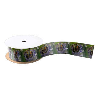 Front View of Beautiful Passiflora Flower Satin Ribbon