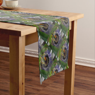 Front View of Beautiful Passiflora Flower Short Table Runner