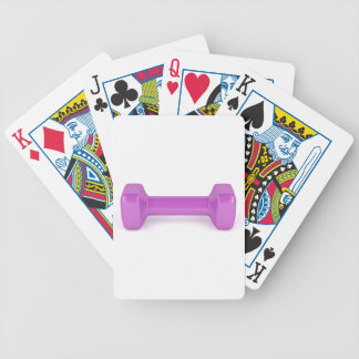 Front view of pink dumbbell bicycle playing cards