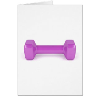 Front view of pink dumbbell card