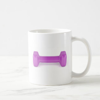 Front view of pink dumbbell coffee mug