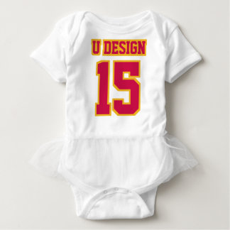 Front WHITE CRIMSON RED GOLD Tutu Football Jersey Baby Bodysuit