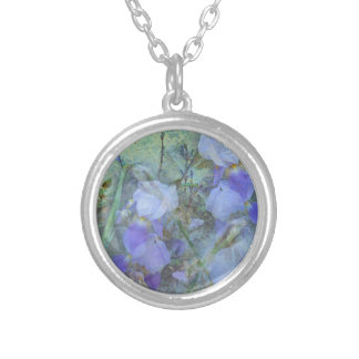 Front Yard Irises Silver Plated Necklace