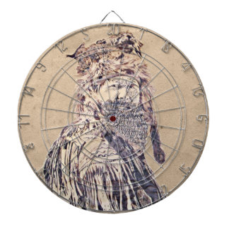 Frontier Man Pen and Ink Portrait Dartboard
