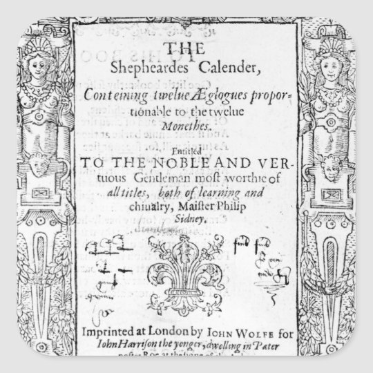 Frontispiece of 'The Shepeards Calender' Square Sticker