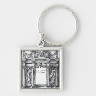 Frontispiece to 'Monasticon Anglicanum' Silver-Colored Square Keychain
