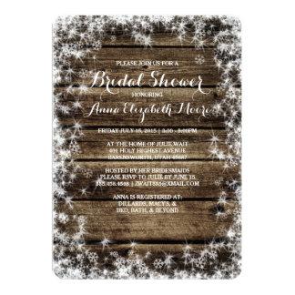 "Frost Bite Barn Wood Rustic Winter Bridal Shower 5"" X 7"" Invitation Card"