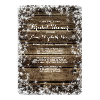 Frost Bite Barn Wood Rustic Winter Bridal Shower Card