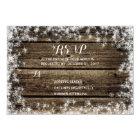 Frost Bite Barn Wood Rustic Winter Wedding RSVP Card