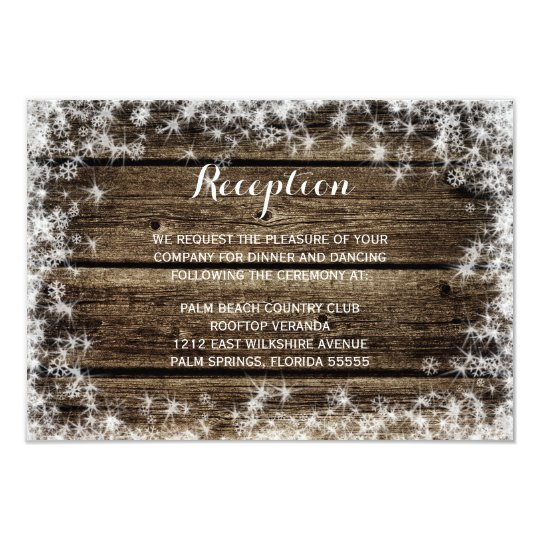 Frost Bite Barn Wood Winter Wedding Reception Card