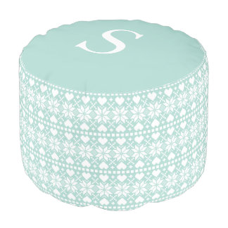 Frost Blue Holiday Nordic | Round Pouf