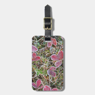 Frost covered leaves, Canada Luggage Tag