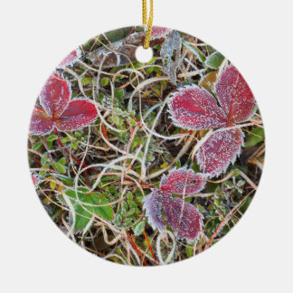 Frost covered leaves, Canada Round Ceramic Ornament