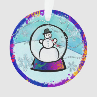 Frost Man Snow Globe Folk Art YEAR Ornament