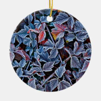 Frost on autumn leaves, Oregon Round Ceramic Ornament
