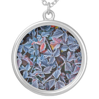 Frost on autumn leaves, Oregon Silver Plated Necklace