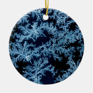 Frost patterns close-up, California Round Ceramic Ornament