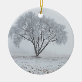 Frost Upon a Lonely Tree Round Ceramic Ornament