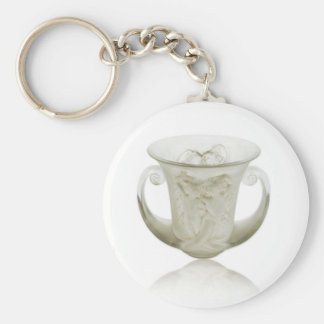 Frosted Art Deco vase with two cherubs. Basic Round Button Keychain