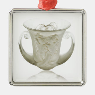 Frosted Art Deco vase with two cherubs. Metal Ornament