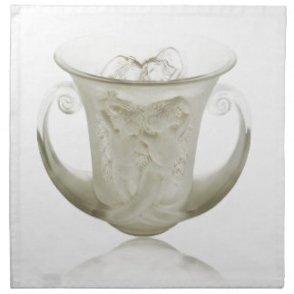 Frosted Art Deco vase with two cherubs. Napkin