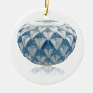 Frosted blue Art Deco vase with etched design. Ceramic Ornament