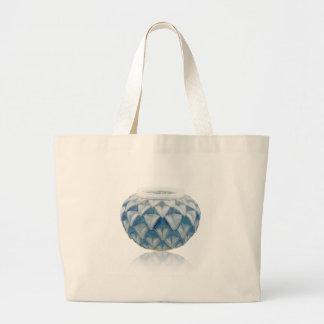 Frosted blue Art Deco vase with etched design. Large Tote Bag