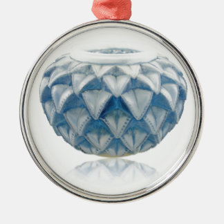 Frosted blue Art Deco vase with etched design. Metal Ornament