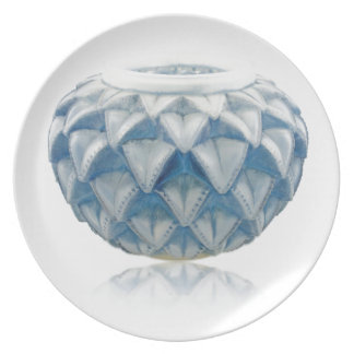 Frosted blue Art Deco vase with etched design. Plate