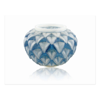 Frosted blue Art Deco vase with etched design. Postcard
